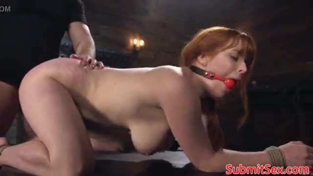 Ginger bdsm sub restrained for pussy pounding
